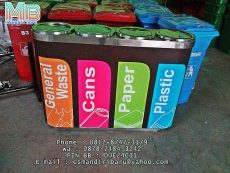 jual kotak sampah stainless standing ashtray 4 in 1 warna harga murah