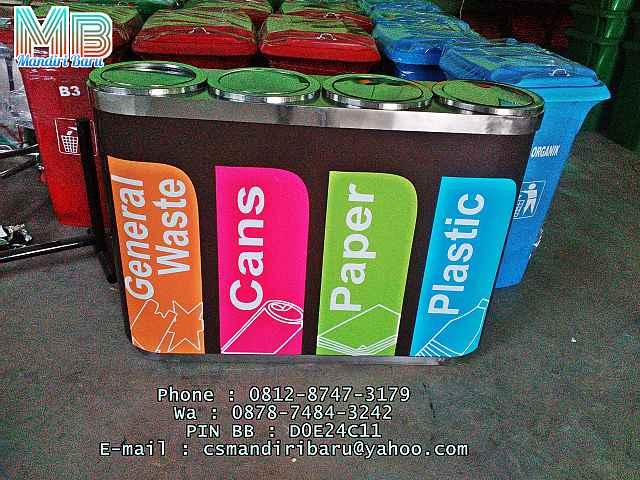 jual kotak sampah stainless standing ashtray 4 in 1 warna harga murah