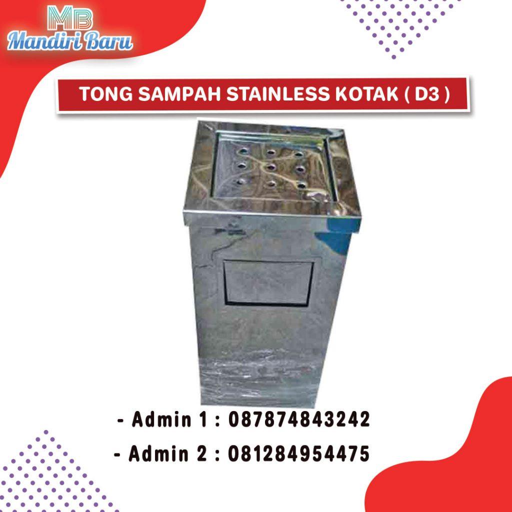 standing asthray kotak, tong sampah stainless, tong stainless kotak,