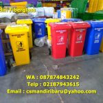 Tong sampah fiberglass 120 liter beroda